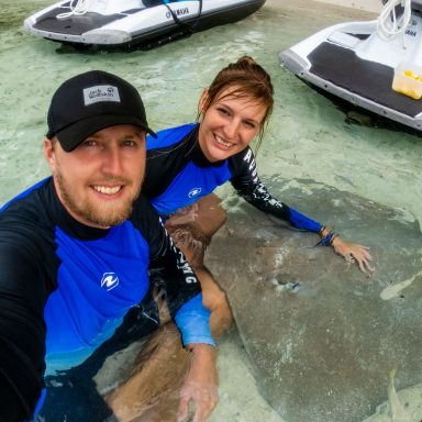 Jazda na vodných skútroch po tyrkysovej lagúne 007